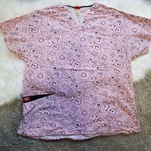 Dickies pink & black bandana design scrub top